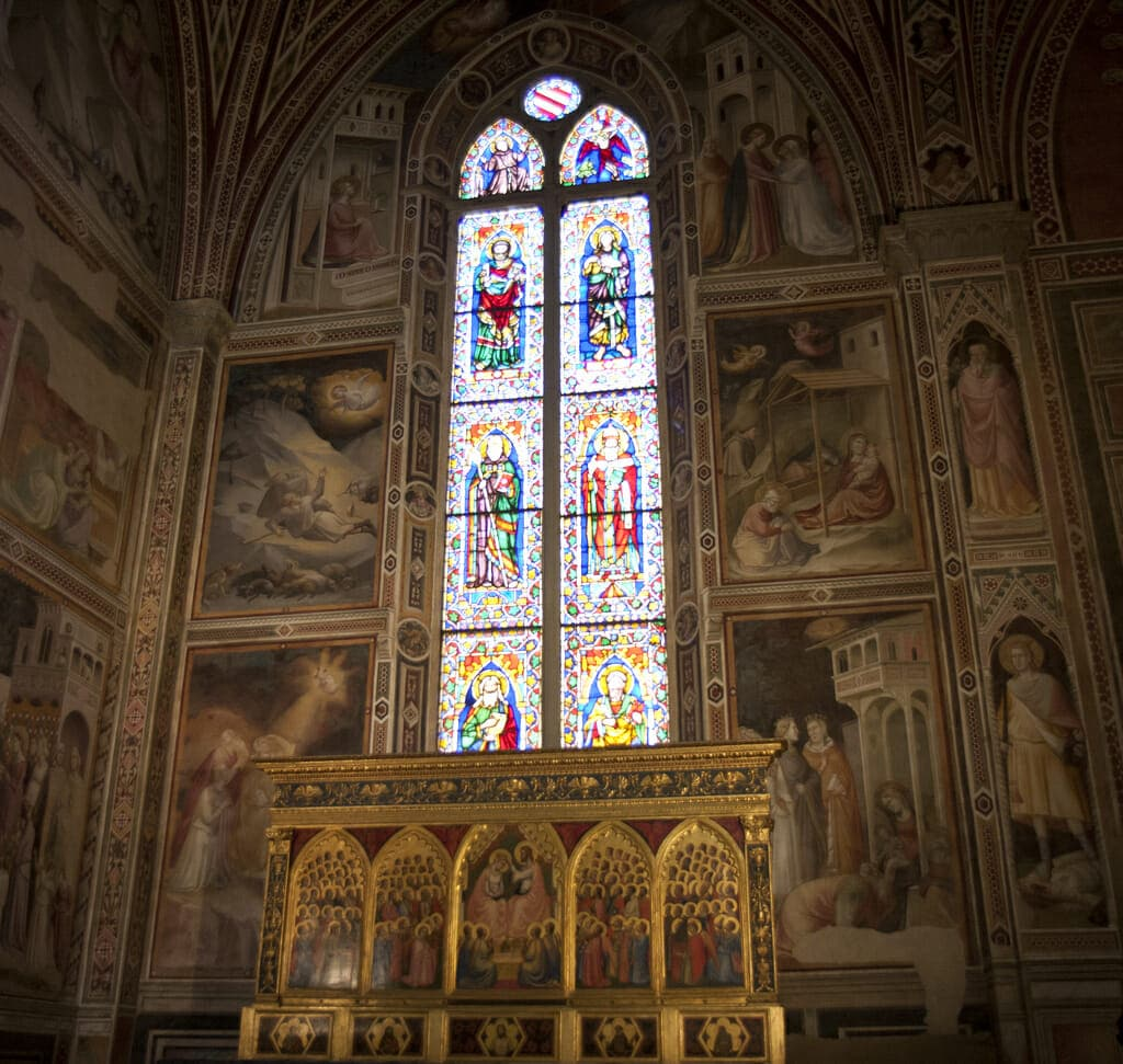 Stained glass window in the Basilica di Santa Croce