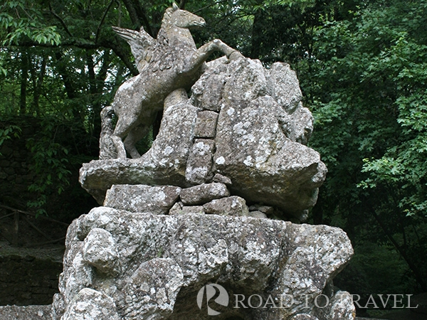 Pegasus - Italy Family Tours in Bomarzo The Pegasus is one of the main sculpure inside the Park of the Monsters in Bomarzo